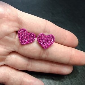 Pink sparkly heart earrings